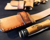 Opinel No 6 or No 8 Knife Pouch/Sheath - Sideways belt attachment - Natural European Leather - Made to Order