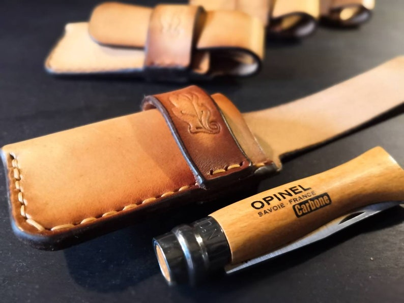 Opinel No 6 or No 8 Knife Pouch/Sheath  Sideways belt image 0
