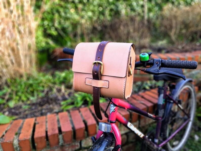 Bike bar bag leather shoulder strap and handle image 0