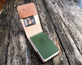 """Small Rite in the Rain Notepad Cover READY TO POST with extra pocket and elastic strap - British Leather 3""""x5"""""""