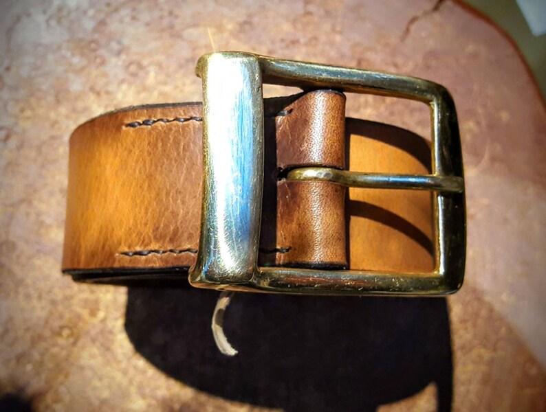 Oak Bark Leather Belt  Natural Solid British and image 0