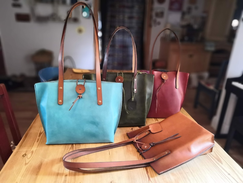Italian Leather Tote Bag  various colours available  in image 0