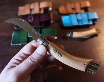 Opinel Mushroom Knife or Corkscrew Knife Pouch/Sheath - Sideways belt attachment - Natural European Leather - READY TO POST