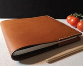Luxury Italian Leather 195mm Square Notebook Cover Amber Colour READY TO POST Refillable and long lasting. Pockets for extra notes.