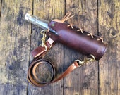 Water bottle with leather cover and optional shoulder strap 750ml