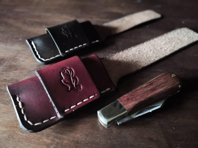Folding Knife Pouch/Sheath  Sideways belt attachment  image 1