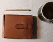A6 Leather Sketchbook Cover with Closure Strap READY TO POST Landscape Refillable and long lasting. Pockets for extra notes
