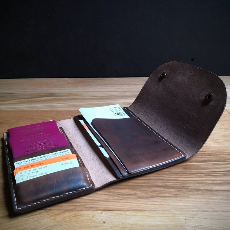 Leather Travel Wallet for passports ID cards currency and Dark brown