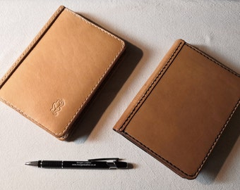 A6 Leather Notebook Cover Natural British Cowhide Un-dyed READY TO POST Refillable and long lasting. Pockets for extra notes.