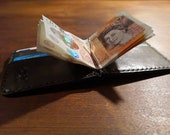Oxblood and black leather bifold wallet with money clip and 4 card slots - made to order