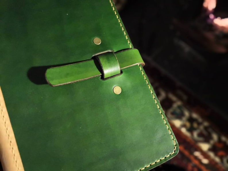 A5 or A6 Luxury British Cowhide Leather Notebook Cover with Forest Green