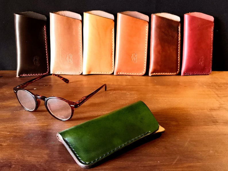 Natural leather glasses case  various colours  READY TO POST image 0