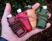 Lighter Pouch Necklace made from leather with a leather cord