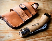 Opinel Mushroom Knife or Corkscrew Knife Pouch/Sheath - Sideways belt attachment - Natural European Leather - MADE TO ORDER