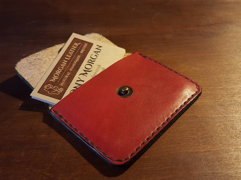 Rectangular Coin Purse  Cowhide Leather  various colours. Red