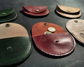 Half Moon Leather Coin Purse - various colours. READY TO POST