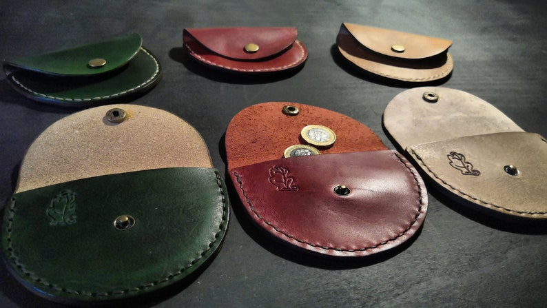 Half Moon Leather Coin Purse  various colours. READY TO POST image 0