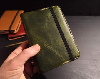 Leather Cover for a Pocket Size A6 Journal Notebook. READY TO POST Refillable and long lasting. British and Italian leather