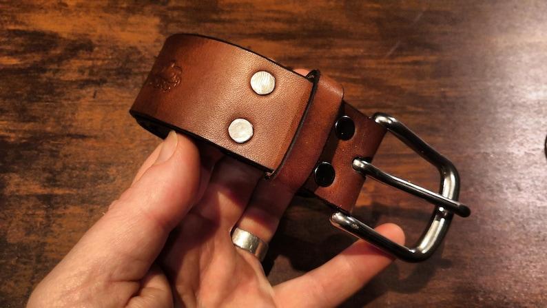 Oak Bark Leather Belt  Economy version  Natural Solid 1.5 inch wide steel