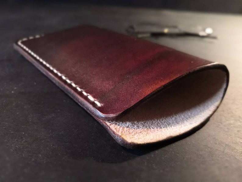 British leather glasses case  dark brown or natural  READY image 0