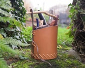 Leather tool bucket with wooden base - in stock and ready to post