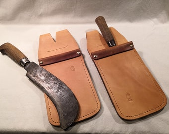 Billhook Sheath / Holster - fold-over opening - hand made in the UK using British leather