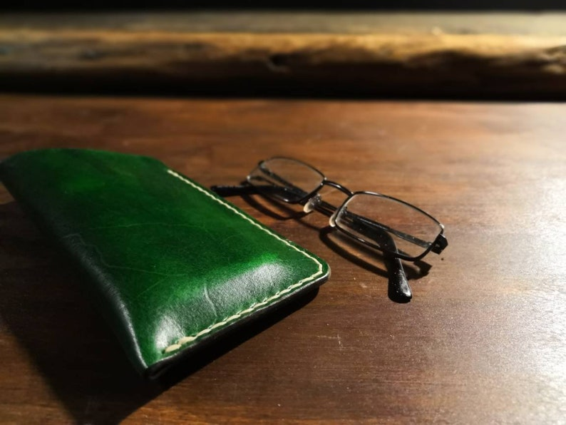 British leather glasses case  3 sizes or custom size. Made to Forest green cowhide