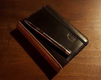 Leather Moleskine Cover for Classic Pocket Size Notebook. Refillable and long lasting. British and Italian leather. Made to order