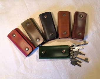 British Leather Key Wallet READY TO POST - protect your pocket and organise your keys. For up to 6 keys.