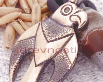 Falcon. Scythian gold. Bronze Bird Scythian culture. Bronze pendant. Bronze bird, a falcon.