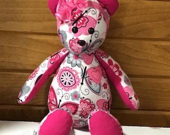 """memory bear,  15"""" handmade keepsake bear, stuffed teddy bear, baby shower gift, keepsake  plushie, remembrance bear, custom keepsake bear"""
