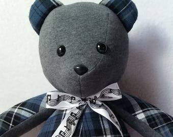 """memory bear,  18"""" handmade keepsake bear, stuffed teddy bear, baby shower gift, keepsake  plushie, remembrance bear, custom keepsake bear"""
