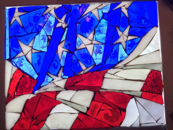 Stained Glass American Flag.American Flag Stained Glass Mosaic