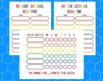 chore chart printable reward chart behavior chart responsibility chart kids chore chart morning routine bedtime routine