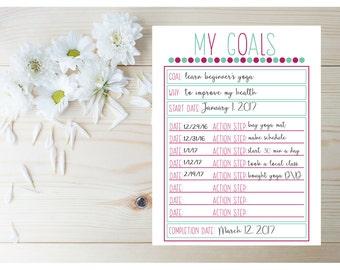 Goal Setting Planner - Goal Tracker - Planner Goal List - Goal Planner - 2017 Planner Printable - Monthly Goals - New Years Resolution