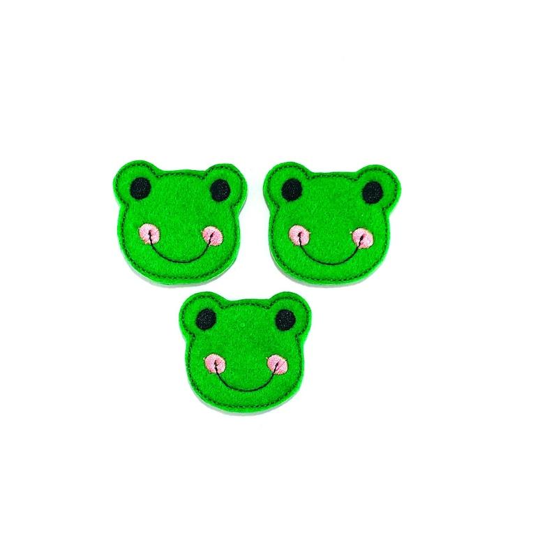 Animal Feltie Animal Accessory Felt Frog Green Feltie Felt Animal Cute Feltie Embroidered Felt Frog Feltie Animal Embellishment
