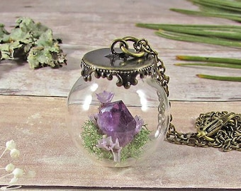 Terrarium necklace, crystal pendant, amethyst necklace, crystal terrarium, real flower necklace