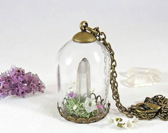 Quartz crystal terrarium necklace