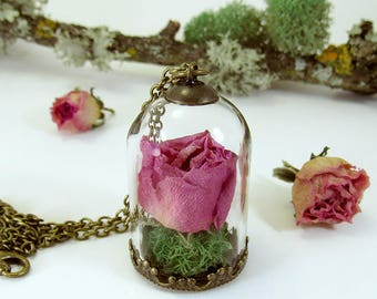 Real rose necklace, terrarium necklace, dried flower pendant, rosebud pendant, real flower necklace