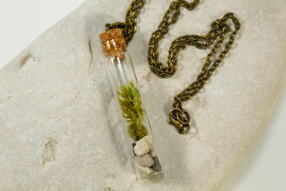 Moss necklace Glass necklace Rustic necklace Forest. Moss earrings Glass dried moss jewelry set Jewelry set Real plant pendant