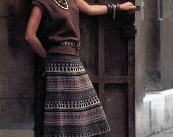 Pattern Only: Vintage Peruvian Skirt Advanced Crochet Pattern 1985 - PDF Download