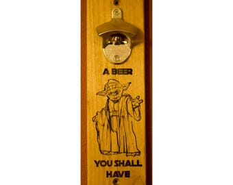Wall mounted bottle opener - 'Yoda'