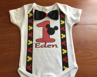 Little boys handmade Mickey Mouse  1st birthday shirt