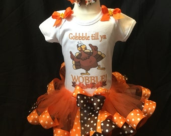 Little girls handmade Thanksgiving day tutu outfit