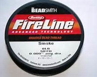 6LB Smoke Berkley Fire Line (Beadsmith) SMOKE 6LB/SIZE D/50YD & 15 Yard Spools Braided Bead Thread NEW 15 Yard Spols