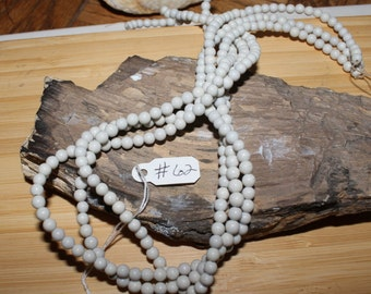 "15"" Strand of 4mm Smooth Round Black Spot Feldspar Beads #62. All White No Black Spots"
