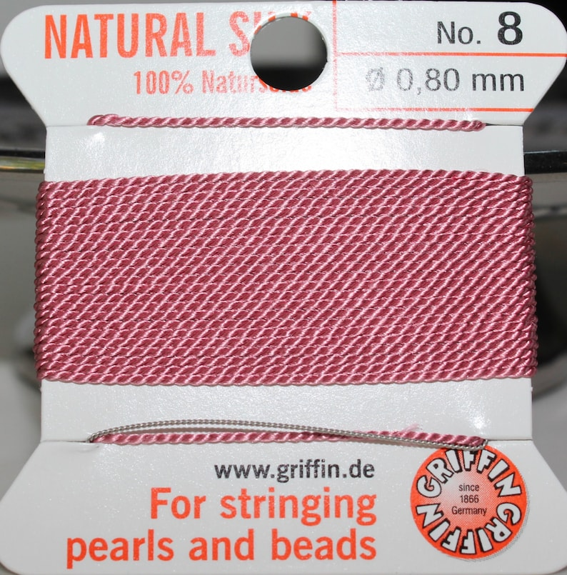 Griffin Hot Pink Silk Bead Thread with Needle