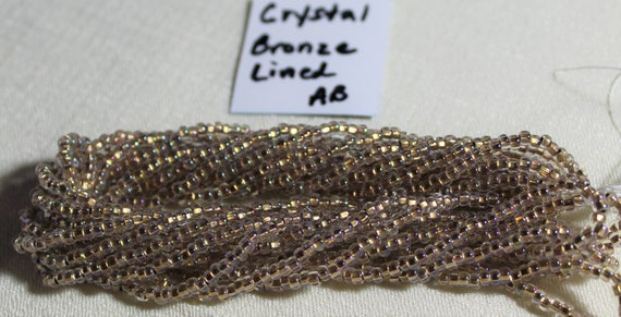 "Czech 2-Cut  Glass Seed Beads Size 11//0 /"" COPPER LINED CRYSTAL  /"" Hank// Strands"