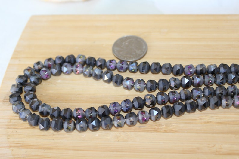 Crystal 14 Strand Of 7mm Round Faceted Partially Frosted Smokey Grey And Pink Chinese Crystal Beads #2 Bead Strands Beading Supplies