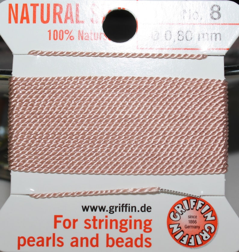 Griffin Light Pink Silk Bead Thread with Needle